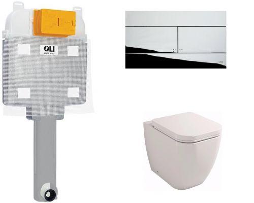 Комплект: бачок OLI74 + приставной унитаз Lavinia Boho One 33020050 (Slim хром кнопка)