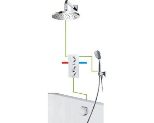 Душевая система Omnires Y SYSYS01CR для ванны, скрытого монтажа, термостатическая, хром