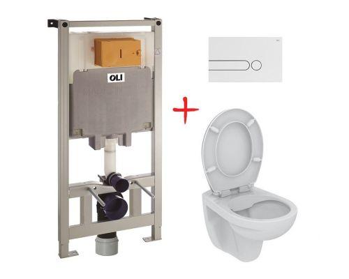 Комплект: инсталляция OLI80 +  унитаз Ideal Standard Eurovit (белая кнопка)