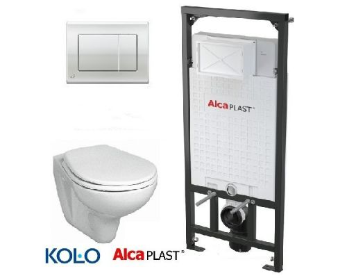 Комплект: инсталляция AlcaPlast AM101/1120E с унитазом Kolo Idol, кнопка М171, 5в1