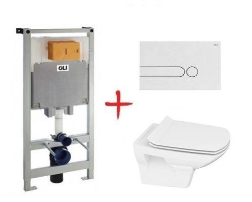 Комплект: инсталляция OLI80 +  унитаз Cersanit Carina new clean on slim lift (Белая кнопка)