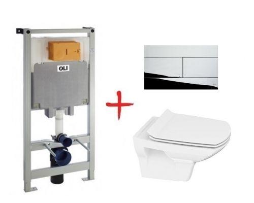 Комплект: инсталляция OLI80 +  унитаз Cersanit Carina new clean on slim lift (Slim хром кнопка)