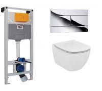 Комплект инсталляция OLI120 + подвесной унитаз Ideal Standard Tesi T007901 + кнопка Slim 659044 (хром)