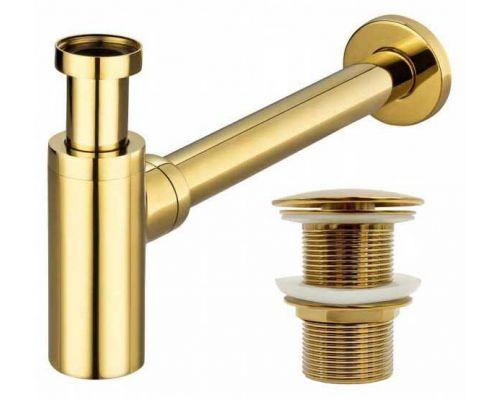 Сифон REA цилиндрический (латунь) с донным клапаном Click Clack  золото