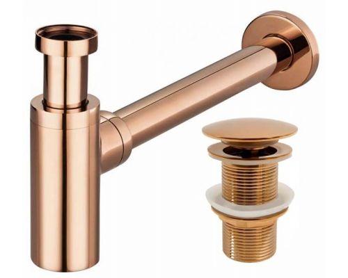 Сифон REA цилиндрический (латунь) с донным клапаном Click Clack красное  золото