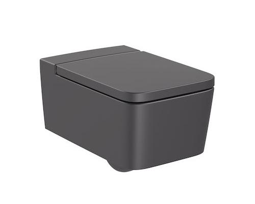 Унитаз подвесной Roca Inspira Square Rimless 56x37 A346537640, черный