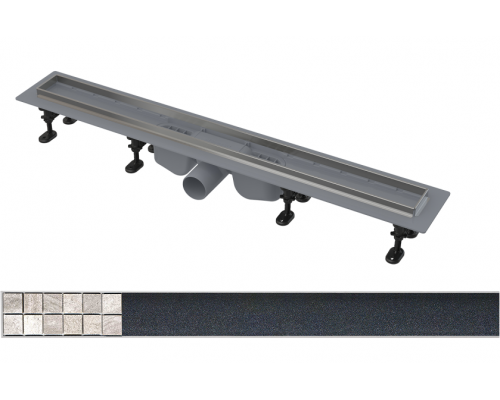 Душевой лоток AlcaPlast APZ22-750 с решеткой TILE-750 под плитку и порогами из нержавеющей стали