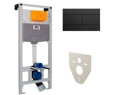Комплект 3 в 1: инсталляция OLI120 с клавишей смыва Slim (черный) и шумоизоляционной прокладкой