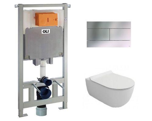 Комплект: инсталляция OLI80 600151 +  унитаз Bocchi V-Tondo 1416-001-0129 (клавиша хром)