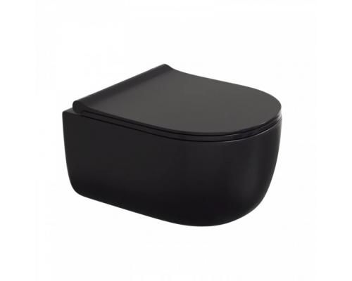 Унитаз подвесной Bocchi V-Tondo 1416-004-0129 с тонким сиденьем микролифт, черный матовый