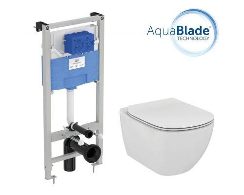 Промо комплект:  инсталляция с унитазом Ideal Standard Tesi Aquablade T386801