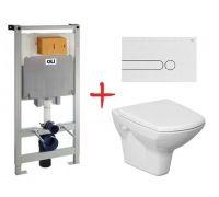 Комплект: инсталляция OLI80 +  унитаз Cersanit Carina new clean on (Белая кнопка)