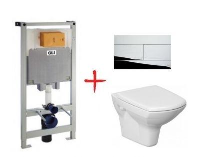 Комплект: инсталляция OLI80 +  унитаз Cersanit Carina new clean on (Slim хром кнопка)