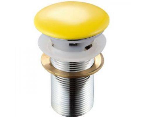 Донный клапан для раковины Melana MLN-ТB6 с отверстием под перелив, желтый