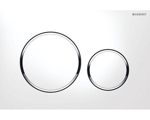 Клавиша Geberit Sigma Type 20 115.882.KJ.1 рамка и кнопки: белые, обод: хром глянцевый, двойной смыв