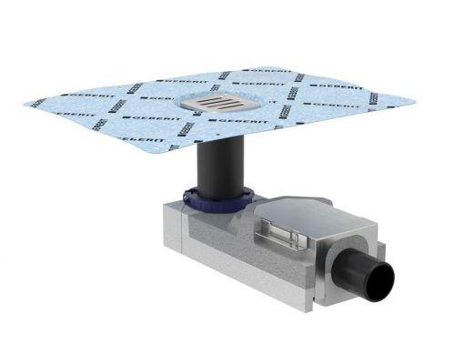 Душевой напольный трап Geberit CleanLine 154.050.00.1, с решеткой, для стяжки пола от 90 мм, выпуск D50 мм