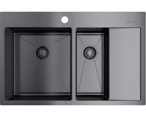 Мойка кухонная Omoikiri Akisame 78-2-GM-L 4973101 вороненая сталь