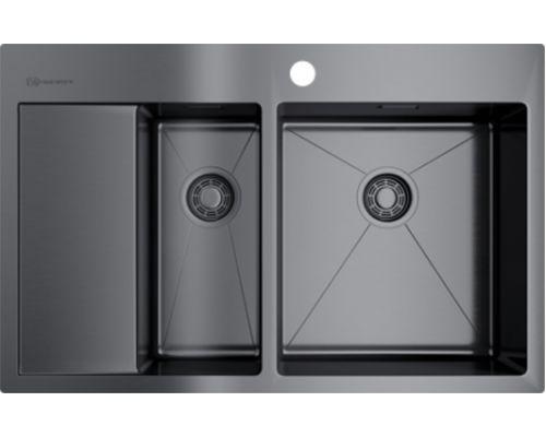 Мойка кухонная Omoikiri Akisame 78-2-GM-R 4973102 вороненая сталь