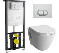 Унитаз с инсталляцией Vitra S50 9003B003-7201 (безободковый VitrA Flush) + клавиша хром+ крышка-сиденье Soft Close