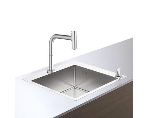Кухонная комбинация Hansgrohe 450, C71-F660-03, смеситель под сталь