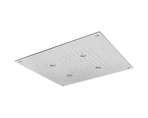 Встраеваемый верхний душ Cisal Zen Shower 40х40 см, 1 тип струи, хромотерапия, выключатель, трансформатор, полированная нержавеющая сталь