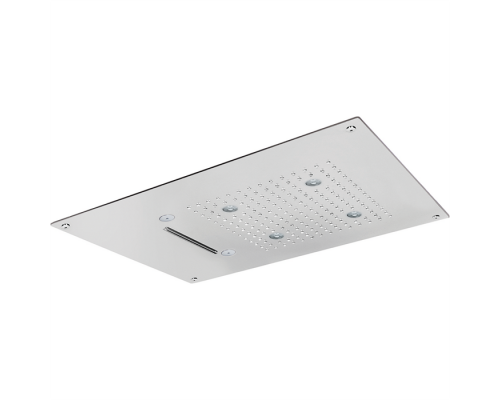 Встраеваемый верхний душ Cisal Zen Shower 55х40 см, 3 типа струи, хромотерапия, выключатель, трансформатор, полированная нержавеющая сталь