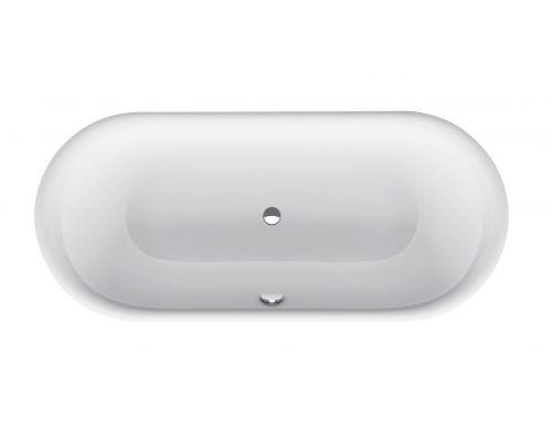 Ванна стальная Bette Lux Oval 3466-000 180 х 80 х 45 см с шумоизоляцией, белая (для удлиненного слива-перелива)