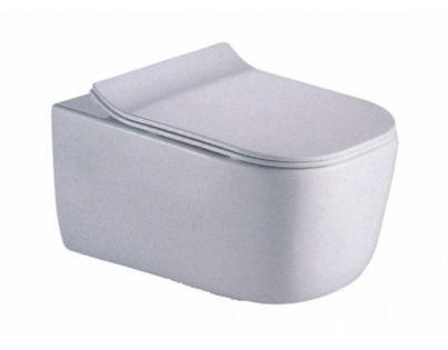 Унитаз CeramaLux B2341 35 x 51 x 36 см подвесной, безободковый, сиденье ультратонкое, Soft Close