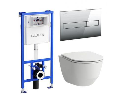 Унитаз с инсталляцией Laufen Pack Pro Rimless с сиденьем, клавишей, 869966000000R